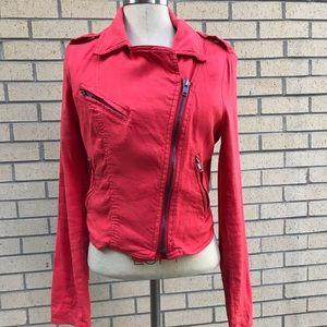 Free people linen blend moto jacket size 10